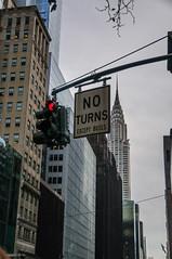 No Turns! (durktalsma) Tags: places america chryslerbuilding newyork northamerica usa unitedstatesofamerica manhattan newyorkcity noturn outdoor sky skyscraper trafficlight trafficsign winter