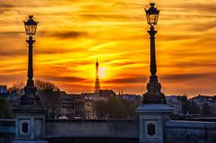 Sunset in Paris (Sean X. Liu) Tags: paris france sunset tower eiffeltower goldenhour europe