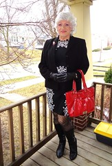 A Special Occasion? Not Really (Laurette Victoria) Tags: jacket boots silver gloves purse woman laurette milwaukee