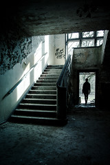 Time (Pensiero) Tags: woman scale window silhouette stairs donna decay military debris steps entrance finestra urbanexploration brandenburg base redarmy sovietarmy gradini entrata macerie 55020