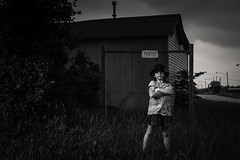 Urban Girl (Kaylie) (Jeffrey Deal) Tags: portrait urban bw white black girl kaylie train canon 50mm little daughter ii 5d lightning 12 speedlight strobe mrk x1600