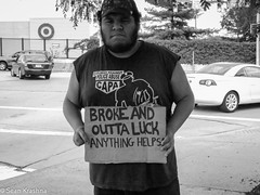 BROKE AND OUTTA LUCK ('09 Spyder) Tags: street portrait man sign photography homeless poor luck broke