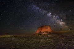 Pawnee Butte under the milky way (wishiwsthr) Tags: longexposure nightphotography stars colorado butte galaxy astronomy nightsky prairie constellations grasslands milkyway scorpius pawnee antares pawneenationalgrasslands pawneebuttes shaula cowpies galacticplane wishiwsthr scorpioconstellation bradmcginleyphotography