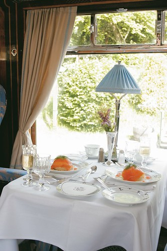 British Pullman - dining table of a luxury train in the UK