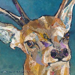 red deer buck (SOLD) (dawndm) Tags: art collage stag buck reddeer tornpaper chrissharratt dawnmaciocia
