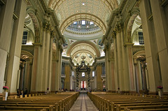 Cathédrale Marie Reine du Monde (LunaticDesire) Tags: ca city trip travel holiday canada building tourism church marie architecture america buildings bench square french photography march town spring nikon boulevard view montréal quebec montreal interior praying north rene tourist du canadian tourists symmetry ceiling holy cathédrale rows northamerica neo dslr monde reine qc neoclassicism dorchester province classicism levesque d40 ouest 2013