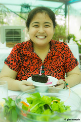 Sonya's.Garden.001 (ginomempin) Tags: birthday portrait cake greentint redblouse tamron2875 tamron2875mmf28