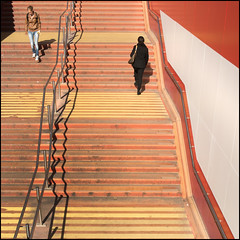 What goes up, must come down (frischauge) Tags: street city light shadow red people urban orange woman sun holland color building rot geometric netherlands up lines sunshine station amsterdam yellow alan architecture stairs underground subway town women colorful pattern order fuji bright geometry candid eingang tube central stripe down line treppe gelb workshop ubahn architektur fujifilm handrail 1855mm 1855 frau curve shape parallel ming weiss rectangle parsons schatten fujinon gebäude centraal ordered xf geländer aufwärts xe1 explored thein amstderdam xtrans xmount wsstreet xf1855