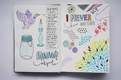 Sketchbook Pages (mushab00m) Tags: art collage painting scrapbook lyrics little drawing journal spoon sketchbook doodle goodnight gouache lists