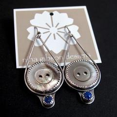 Mother of Pearl and Lapis Earrings (Nina Gibson) Tags: handmade buttons earrings motherofpearl sterlingsilver lapislazuli