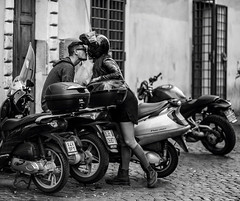 The Kiss. Rome, Italy (RedRing Pictures) Tags: blackandwhite italy rome love italian kiss couple helmet scooter romantic trestevere focuspocus