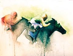 Ride a Dark Horse (lawyertomkaren) Tags: horse watercolor painting downs kentucky racing jockey churchill louisville thoroughbred silks