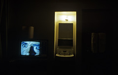 Hotel room at night with tv on and man with fear on his face (Jim Corwin's PhotoStream) Tags: seattle city urban man television horizontal mystery night darkroom photography tv downtown sink room suicide drinking nobody indoors nighttime depression despair motelroom lonely suffering hotelroom lonliness hysterical wildeyed depressing raging troubled socialissues politicalandsocialissues nightmarish urbanscene ravingmad panicstricken stockravingmad uncontollable