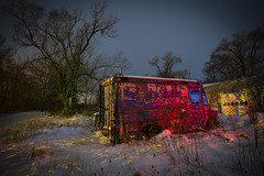 Love Electric in Red and Blue (Notley) Tags: auto blue trees winter light red snow lightpainting cold tree green abandoned night truck evening midwest missouri freeze greenlight junkyard van february redlight nocturne boneyard bluelight lichtmalerei 2014 mexicomissouri abandonedcars 10thavenue audraincounty workvan notley snowyevening ruralphotography autosalvage ruralusa notleyhawkins pinturadeluz   missouriphotography httpwwwnotleyhawkinscom notleyhawkinsphotography audraincountymissouri  autoboneyard rgblightpainting  loveelectric loveelectrictruck