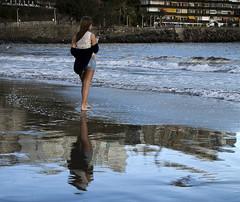 Reflection of a girl (Vidar Ringstad, Norway) Tags: winter reflection beach nature girl grancanaria canon eos spain warm clothes 7d stay canaryisland sanagustin thegalaxy