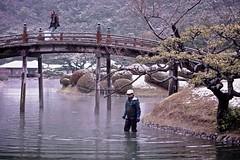 Work vs. Play (Jake in Japan) Tags: street bridge winter snow japan garden candid sony tourist takamatsu getty editorial  worker kagawa   gettyimages   flickrvision ritsurin     apsc  nex7 sel50f18 e50mmf18oss jakejung