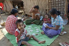 PLAYING CARDS (Claude  BARUTEL) Tags: poverty family playing truck river cards asia southeastasia burma transport myanmar misery trucking irrawaddy