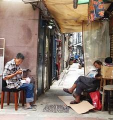 Hong Kong - Two guys and an alley (ashabot) Tags: people hongkong streetlife documentaries streetscenes alleys