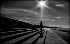 In the Light. . . (CWhatPhotos) Tags: pictures camera light shadow sky sun white fish black eye beach monochrome silhouette clouds digital standing pen that lens lite four photography mono sand focus day skies foto with view image artistic cloudy pics north wide steps picture silhouettes pic olympus images lancashire fisheye have photographs cast photograph fotos micro promenade figure manual 35 olympuspen which blackpool skys silhouetted casting fit contain 43 thirds lancs f35 75mm mft samyang esystem sanyang cwhatphotos epl5