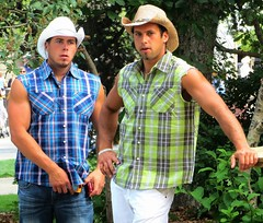 Handsome boys! (ManontheStreet2day) Tags: man male boys hat cowboy handsome hunk crotch jeans tanktop flannel bluejeans biceps stud wifebeater bulge