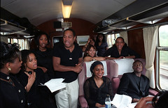 Patti Boulaye Gospel Choir Train Journey from Paddington Station London to Exeter City St James Park Football Club Fund Raising Event Focusing on Children with Aids with Uri Geller June 14 2002 096 (photographer695) Tags: patti boulaye her gospel choir train exeter journey from paddington station london city st james park football club fund raising event focusing children with aids uri geller june 14 2002