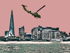 Cobra over London (tim constable) Tags: uk pink red urban london silhouette skyline buildings londonbridge army us flying stencil comic cobra riverside graphic famous capital sightseeing style southbank helicopter commercial airforce effect shard iconic riverthames overhead touristattraction offices gunship roylichtenstein fftw sicfi timconstable