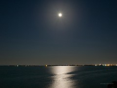 _7010103b (Concert Photography and more) Tags: blue sea italy moon reflection night stars landscape island lights lagoon grado 2015