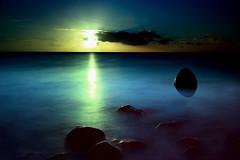 LevitatingBoulder (dinsy2) Tags: hallettcove photoshop sunset surreal silhouette beach sea ocean longexposure adelaide coast levitate float mist misty