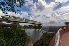 Monorail (wdwben) Tags: waltdisneyworld waltdisney waltdisneyworldresort waltdisneyworldparksandresorts waltdisneyworldparks disney disneyworld disneyparks disneyparksandresorts epcot epcotcenter epcotinternationalflowerandgardenfestival monorail monorailgreen clouds nikon nikond610 irixlens irix15mm futureworld