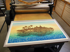 """DESERT ISLAND"" Woodcut & Printing Press (Tugboat Printshop) Tags: woodcut woodblock desertisland tugboatprintshop printing printmaking artist press pittsburghprintmaking pittsburghartists pittsburghwoodcut"