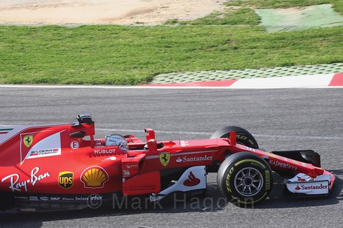 Sebastian Vettel in his Ferrari at Formula One Winter Testing 2017