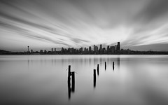 The Grey Hour (John Westrock) Tags: blackandwhite longexposure seattle washington morning smooth clouds westseattle alki pacificnorthwest canoneos5dmarkiii sigma35mmf14dghsmart bwnd1000x cityscape