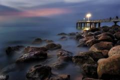 Blue (Anto Camacho) Tags: pier xilxes valencia valenciancommunity longexpoure bluehour landscape mediterraneansea seascape seashore rocks light clouds nature waterscape bigstopper longexposure