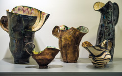 Ceramic Pitchers (Diacritical) Tags: ceramics gallery exhibit iso1600 f40 70mm aperturepriority 2470mmf28 2013 1160sec nikond4 1160secatf40 susanrowland charlespsiftongallery uncontainedforces