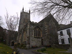 Fowey Church (Worthing Wanderer) Tags: grey coast spring cornwall cloudy harbour path windy estuary april fowey dull southwestcoastpath