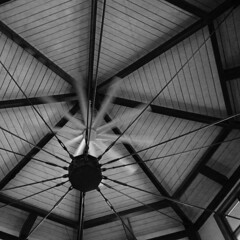 Spinning (arbyreed) Tags: blackandwhite bw monochrome architecture fan ceiling squareformat achromatic arbyreed