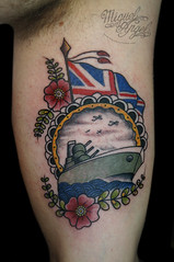 Battleship British Custom tattoo (Miguel Angel tattoo) Tags: old flowers sea flower color colour london art english floral miguel tattoo illustration angel design boat flying wings waves ship arm flag traditional navy wing patriotic oldschool tattoos angels british sailor flagpole plains custom naval unionjack gunner twickenham tlc loral flawer newschool miguelangeltattoo tlctattoo