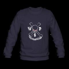 Men's Skulls and Cross Chux Sweatshirt (Who Dares Spinz) Tags: motion logo flow fire skull star chains fight graphics freestyle pattern ninja spin arts womens staff yang spinning poi mens spreadshirt tshirts yin brand vector yinandyang hoodies wds sweatshirts nunchucks nunchaku longsleeves whodaresspinz freechaku spinstorm ssfna freestyleforum