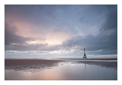 Autumn Dusk (A-D-Jones) Tags: ocean blue autumn light sea sun seascape beach water pool set clouds liverpool landscape puddle evening cool long exposure post dusk marker ripples beacon crosby merseyside sefton