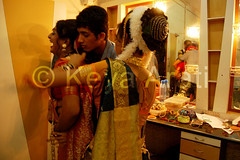 Getting ready in hurry between two dances (keyaart) Tags: india men women dancers folk mumbai lavani