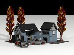 Lugnuts Clubhouse (lego911) Tags: auto autumn house building tree fall ford chevrolet hardtop belair car club model lift lego render air engine tudor flame chevy 49 be 1957 custom build 74 coupe challenge clubhouse diorama 1949 57 cad lugnuts povray hoist chev customised moc motorcity ldd dioramarama lego911