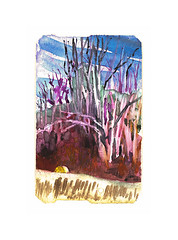 hay bale hiding (Josh Torin) Tags: newyorkcity winter fiction sky cold tree illustration rural forest watercolor painting subway landscape miniatures landscapes miniature woods joshua branches paintings scene josh story fantasy hero fields mta farms adventures gouache stories plein metrocard narrative torin fable fugitive haybales pictorial anthropomorphic guache animism miniaturepainting animistic pocketart narrativeart joshtorinmckeon hieronymusjosh metrocardminiatures metrocardpaintings