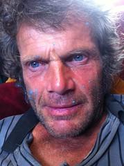 Rory with Blue Paint (yvoluna) Tags: blue portrait man colour male boyfriend fisherman paint artist rory bleu ami homme mccormack iphone copain rorymccormack