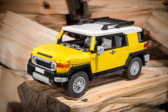 Toyota FJ Cruiser (Peteris Sprogis) Tags: auto roof white car yellow nikon lego offroad ps toyota vehicle suv fj cruiser moc madeinjapan 2014 afol legocar toyotafjcruiser legomoc latlug vision:clouds=0628 vision:car=0745