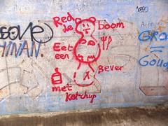 Save a tree, eat a beaver... (Davydutchy) Tags: bridge tree river graffiti march funny ketchup arnhem kade beaver kai rhine rhein quai rijn fleuve 2014 rivier rijnkade kaai rhin flus