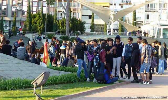 Concentracion de recuerdo de Berkin Elvan en Antalya