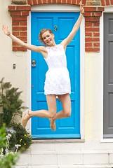 Jump (Massimo Usai) Tags: door blue girls england white london studio happy jump model blonde putney londonist