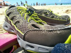 Not a baby anymore (... E M A ...) Tags: summer people beach sand shoes puertorico gray culebra footwear caribbean lime upclose flamenco