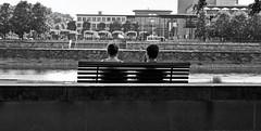 """ Dresden - A woman, a man on Elbe river "" (pigianca) Tags: river germany dresden couple saxony streetphoto elbe urbanphoto sonyrx100m2"