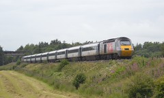 Photo of 43296 (with 43314 leading) 1S16 12:00 London Kings Cross - Inverness; Bannockburn; 28-07-2015